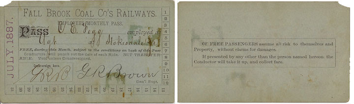 1887 Fall Brook Railway Pass