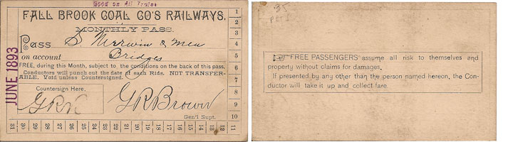 1893 Fall Brook Railway Pass
