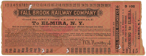 1894 Fall Brook Railway Ticket