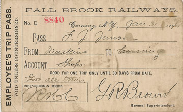 1897 Fall Brook Railway Press Pass