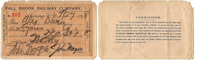 1898 Fall Brook Railway Pass