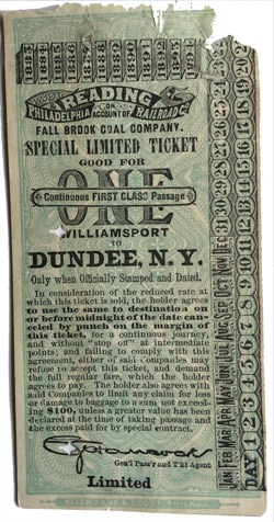1883 Readinr RR Ticket