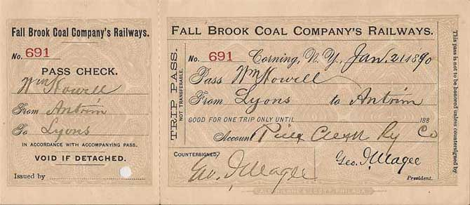 1890 Fall Brook Railway Trip Pass